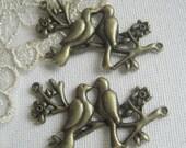 4 pcs High Quality Antique Bronze Lovely Bird Pendant Charms.27 x 48 mm