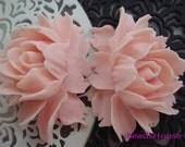 34-02-500-CA  2 Pcs  Beautiful Cabbage Rose Cabochon -Light Pink
