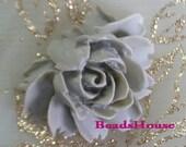 20%off - 34-Gry-CA  4pcs Beautiful Cabbage Rose Cabochon -Grey