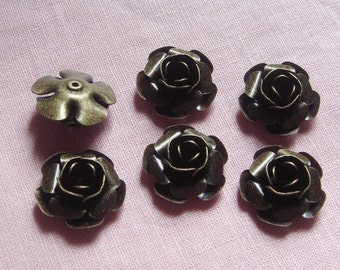 FF-600-55  6pcs Antique Brass Rose Charms, NICKEL FREE