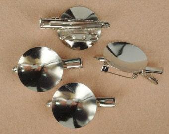 CM-800-13  10pcs  Silver Plated Brooch Base W/28mm Pad,