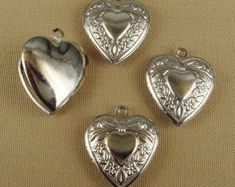 LK-100-35SI  4 Pcs  Silver Plated Heart Locket ,Nickel Free.