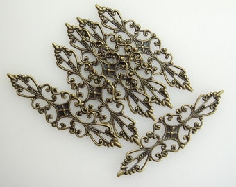 6pcs Antique Brass Filigree Charms, NICKEL FREE
