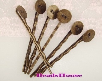Wholesale HC-12ANT   50pcs Antique Brass  Bobby Pin w/10mm Pad - NICKEL FREE