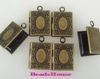 LK-100-41Ant  6 pcs Antique Brass Cute Book Shape Locket.Nickel Free.