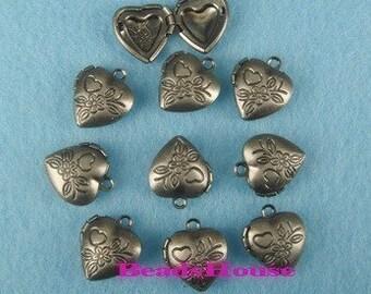 LK-100-33-2ASI  10pcs Antique Silver Plated Cute Heart Mini Locket, NICKEL FREE