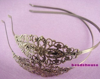 HB-03ANT  1pcs Antique Brass  W/Filigree HeadBand,Nickel Free.