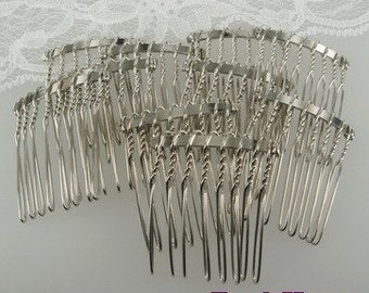HC-01-8SI  10pcs Silver Plated Hair Comb w/ 8 Pin .NICKEL FREE