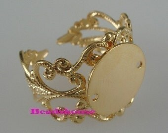 NEW RR-700-12MM-GD  6 Pcs  Adjustable Gold Plated  Filigree  Ring W/ 12mm  Blank.NICKEL FREE.