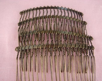 HC-01Ant 10pcs Antique Brass Hair Comb w/20 Pins, NICKEL FREE