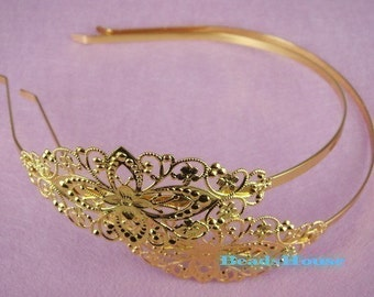 Sale 20% Off - 10pcs Golden Plated  Filigree HeadBand,Nickel Free.