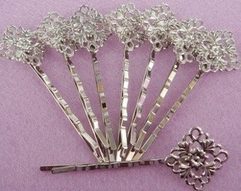 12Pcs Silver plated Bobby Pin W/15mm Filigree  - NICKEL FREE