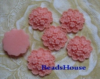 20%off - 36-00-CA  6pcs Pretty Round Flower Cabochon 10mm , Pink