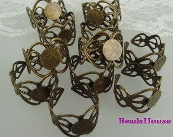20%off RR-700-Ant  6Pcs  Adjustable Antique Brass Heart Filigree Ring, W/8mm Pad