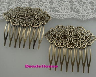 HC-36-B-Ant  3pcs (  9Teeth)Antique Brass Filigree hair combs,Nickel Free