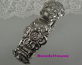 20%off CB-06SI 1pc Unique Silver Plated  w/Filigree Cuff-Bracelet