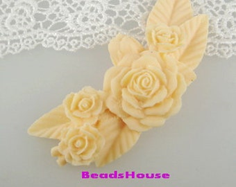 20%off 2pcs Pretty  Large Ivory Rose Branch Cabochon-439 ,Ivory