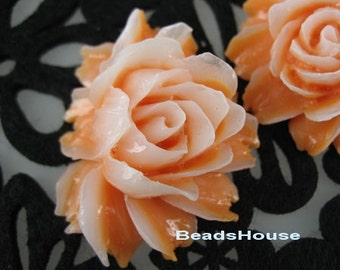 New: 2 pcs Pretty Cabbage Rose Cabochon,Orange / White
