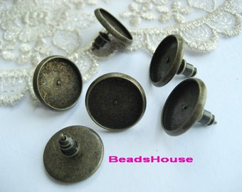 10sets (12mm)  Antique Bronze Earposts W/Stud Back-Nickel Free