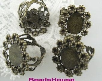 20%ff RR-700-18At  4pcs Adjustable Antique-Brass Ring,10 x14mm Oval Setting.NICKEL FREE