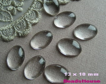 20 pcs  Oval Clear Glass Cabochon,13 x 18 mm