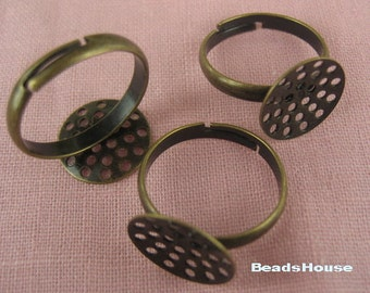 20%off RR-700-3Ani  6pcs Antique Brass Ring W/14 mm Net Pad,NICKEL FREE.