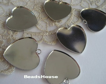 20%off - 6pcs Silver Plated Heart Cabochon Setting Base,25 x 25 mm