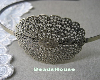 2 Pcs Antique Brass HeadBand W/ Oval  Filigreen ,Nickel Free.