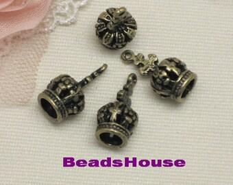 8pcs Antiqued Vintage Bronze Crown Charms / Pendants,8 x 7 mm