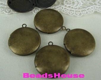 4pcs (25mm)Antique Bronze Brass Circle Locket Pendant /Charms,Nickel Free