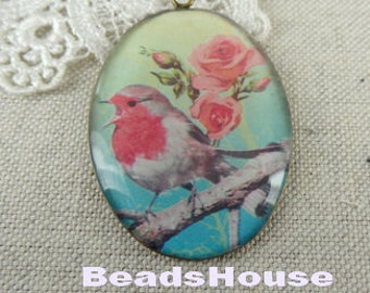 1 pcs (30x40mm) Beautiful Antique Brass Glossy Pendant/Charm - Vintage Bird (RS-01)