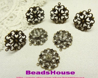 WholeSale:50pcs Antique Brass Earring Posts With15mm Filigree And Ear Studs Back Stoppers.Nickel Free