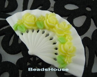 2pcs Classic Rose On Fan Cabochon,32 x 60 mm,Yellow Rose on White