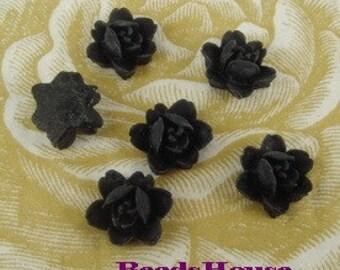502-BK-CA 10pcs Petite Rose Cabochon - Black
