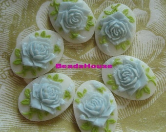 90S-BL-CA 6pcs (13x18 mm) Beautiful Oval Rose Cameo-Baby Blue on White