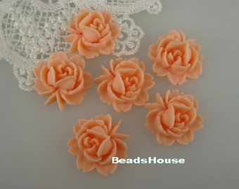 57-00-PEH-CA  6 Pcs  Beautiful Roses Cabochon - Peach Pink