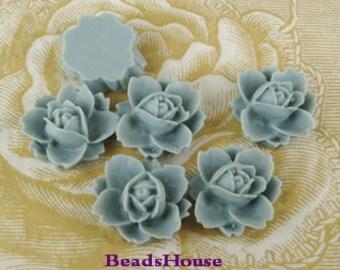 620-07-450--CA  6pcs Beautiful Rose Cabochons - Powder Blue