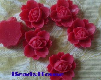 NEW 620-00-806-CA  6 Pcs Beautiful Rose Cabochon -Deep Rose