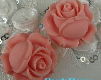 20%off 634-00-182-CA  2pcs Elegant Rose Cabochon -Pink
