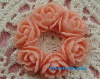 610-01-820-00-CA  4pcs Exquisite Round Rose Bouquet Cabochon - Pink.