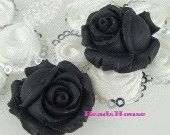 4 pcs Elegant Rose Cabochon -BLACK.