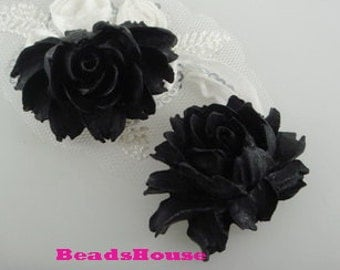 34-00-BK-CA  2pcs Hight Quality Cabbage Rose Cabochon - BLACK