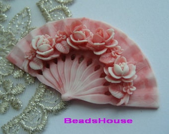 20%off: 2pcs Classic Rose On Fan Cabochon,32 x 60 mm, Pink w/White Edge (BH349)