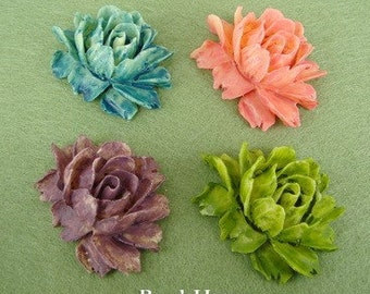 34-00-Ty -CA  2pcs Tie-Dyed Cabbage Rose Cabochon
