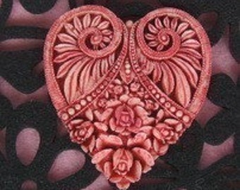 330-RD-CA  2pcs Tie-Dyed Heart Rose Cameo,Red