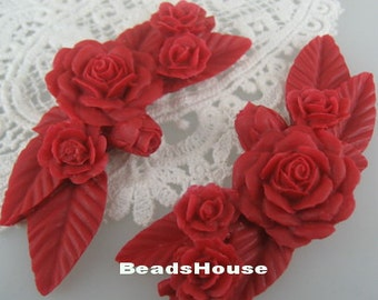 2 Pcs  Pretty Huge Rose Branch Cabochon439,True Red