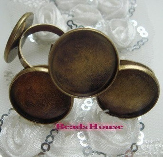 RR-700-31Ant  10pcs Adjustable Antique-Brass Ring  W/18mm Base , NICKEL FREE