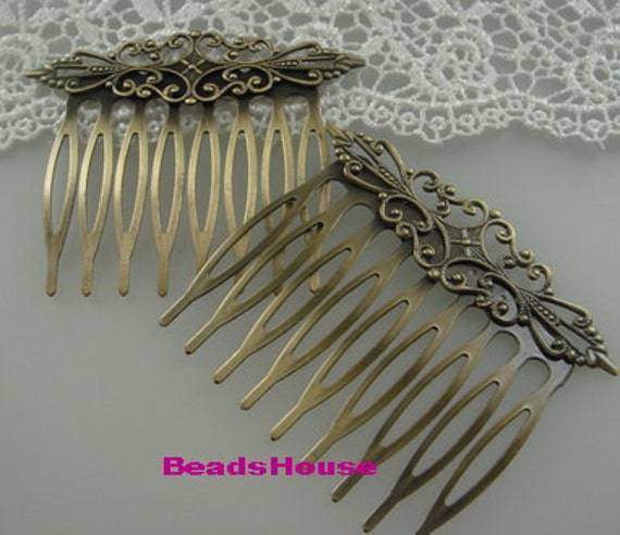 WholeSale HC-45Ant 12pcs Antique Brass Filigree hair combs, Nickel Free