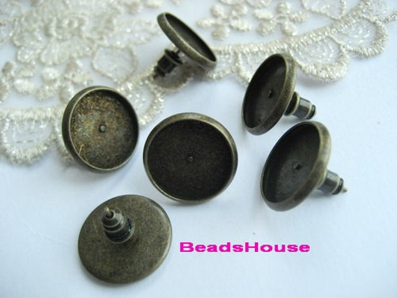 20pcs (12mm)Antique Bronze Earposts W/Stud Back-Nickel Free