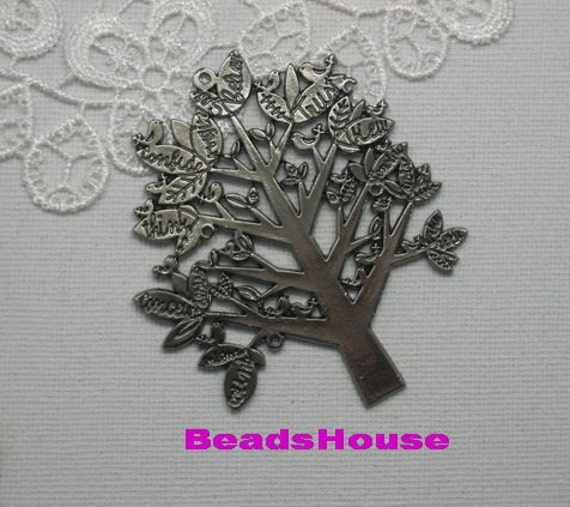 30% off - 2pcs  Large Gunmetal Plated Tree and Bird Charms / Pendant,67x57mm